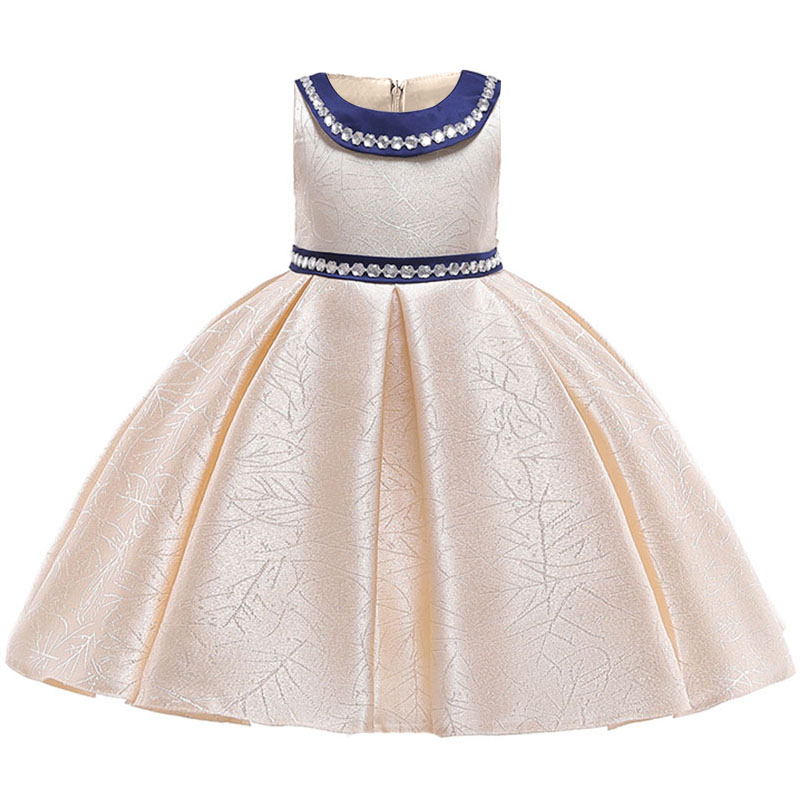 High Quality Flower Girl Dresses Summer Party Ball Clothes Kids Sequins Girl Wedding First Communion Dresses Baby Costume L5108