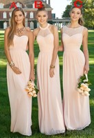 3 Designs Bridesmaid Dresses 2016 Navy Blue Light Pink Blue Floor Length Wedding Party Elegant Robe