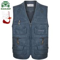 2018 Denim Vest Men's Jacket Sleeveless Cotton Casual Waistcoat Men's Jean CoatSlim Fit Male Jacket Cowboy Pockets Plus Size 7XL