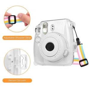 Image 5 - Fujifilm Instax Mini 9 Case przezroczysty kryształ plastikowa obudowa Camera Protect Case torba z paskiem do Fujifilm instax Mini 8/9/8 +