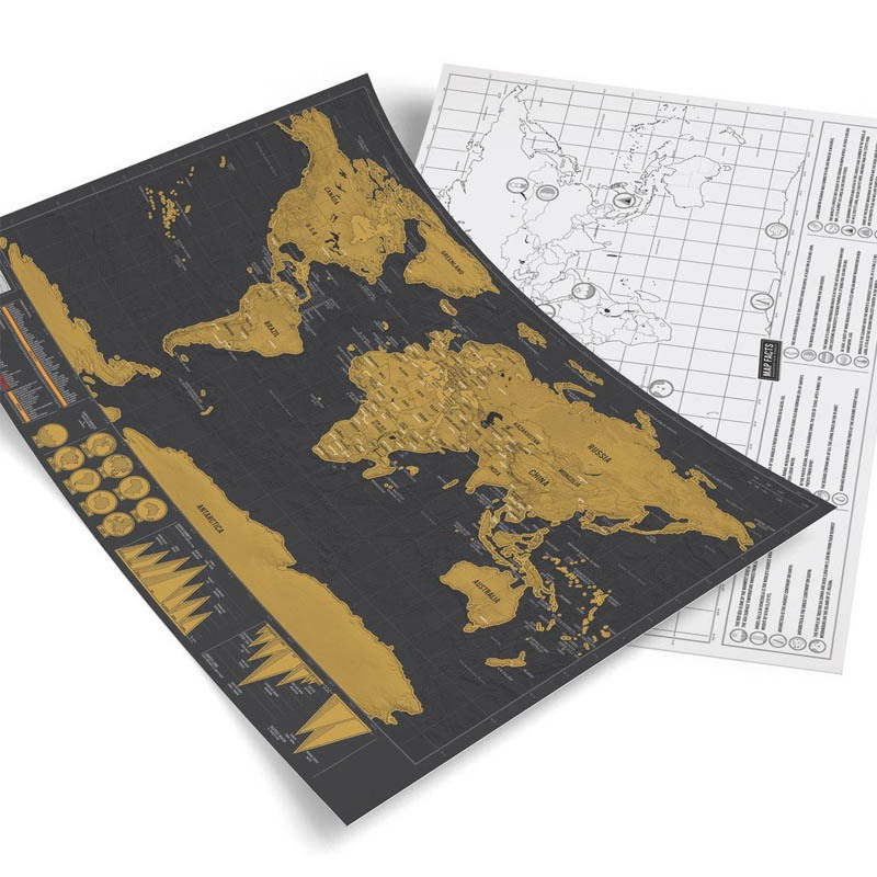 Mini Scratch Off World Map,Best Gift For Travelers And Go Explorers,Educational Office Supplies Social Studies Materials