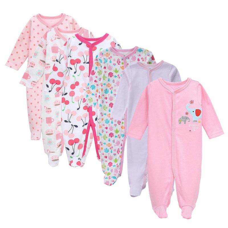 Envío libre 3/4/5/6 Unids / set Mamelucos del bebé del algodón ropa recién nacida de la muchacha del mono largo de la manga roupas infantis menino Monos