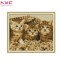 NKF New arrival Three Little Kit 2 simple Needlework DMC 11CT 14CT Cross Stitch Sets For Embroidery kits Gift desk room decor