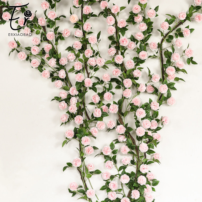 Erxiaobao Pink Red Blue Artificial Flowers Peony Fake Rose Silk Flower Vine String Wall Hanging Door Home Party Wedding Decor