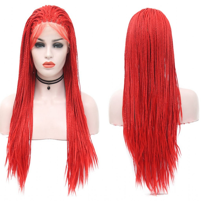 JOY BEAUTY Red Color Long Braid Lace Front Wig Micro Braids Synthetic Lace Front Wig Braided