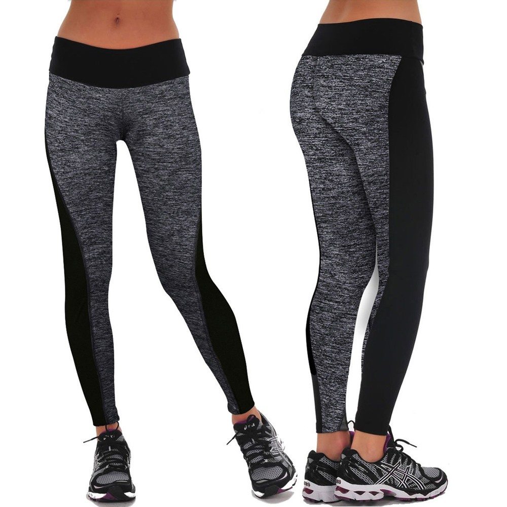 L, Gray Womens High Waist Leggings Sports Gym Yoga Workout Fitness Lounge Athletic Pants