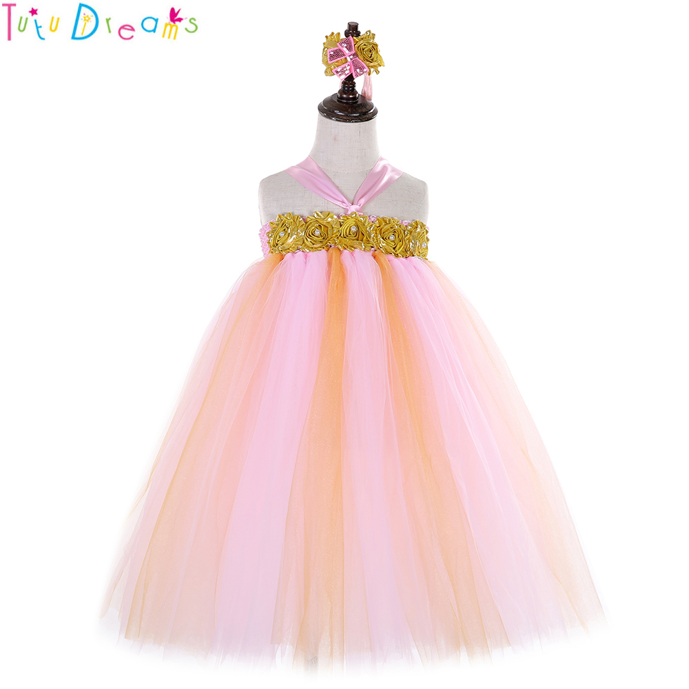 Pink And Gold First Birthday Pageant Tutu Dress Children