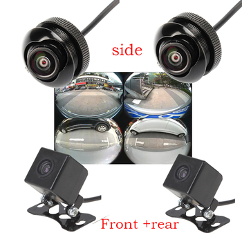 4pieces 600L CCD 180 degree camera Fisheye LENS wide angle Rear Front side view reverse backup camera 360 rotato night vision