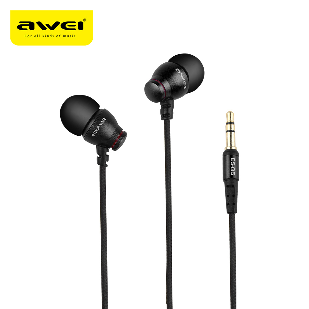 AWEI ES-Q6 Earphones Protable 3.5MM Plug Stereo Music Vibrate Sounds Deep Bass In-ear Earphones with Microphone