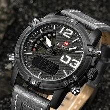 NAVIFORCE Brand Men's Digital LED Sport Watches Men Waterproof Leather Quartz Watch Man military Male Clock Relogio Masculino