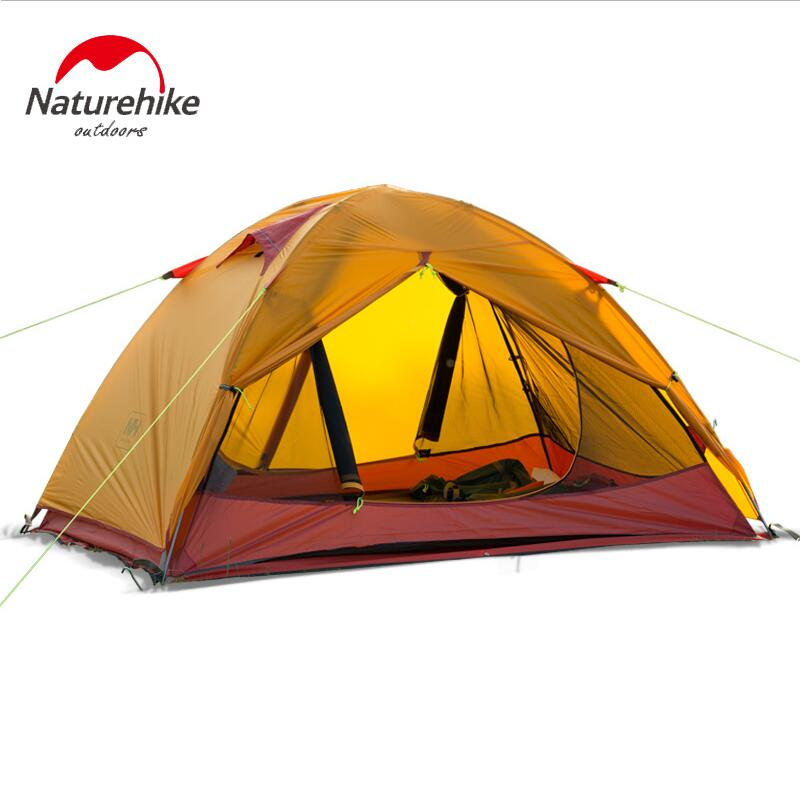 Naturehi Tent Ultralight Outdoor recreation 20D silicone double layer 1-2 person hiking tourist tent aluminum pole camping tents waterproof tourist tents 2 person outdoor camping equipment double layer dome aluminum pole camping tent with snow skirt