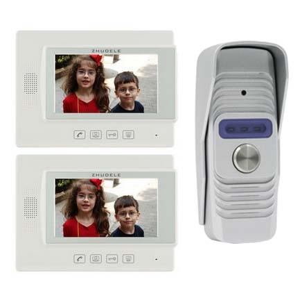 ZHUDELE Top Quality Home Security Intercom System Doorbell Kits 2X7 Video Door Phone + 1X700TVL IR Camera w/t Waterproof Cover