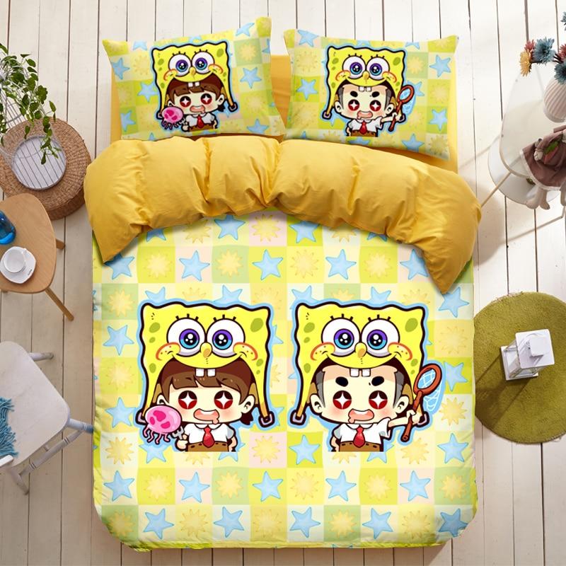 Cotton Bedding Sets Cartoon Spongebob Squarepants 4pcs Bed Set Duvet Cover Bed Sheet Pillowcase Soft And