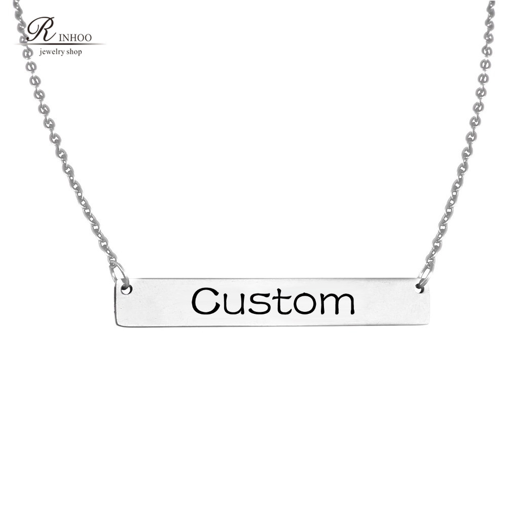 Custom Necklace Name Necklace Personalized Engraved Nameplate Word Charm Jewelry Stainless Steel Pendant Necklace For Women