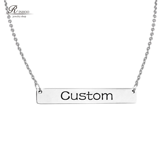 0568ba16a Custom Necklace Name Necklace Personalized Engraved Nameplate Word Charm Jewelry  Stainless Steel Pendant Necklace For Women