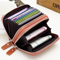 Hanup Women Double zipper credit card holder Patent leather fashion cardholder extendable id holder bags by 6 colors