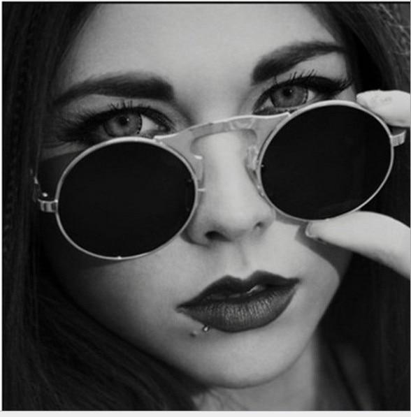 J31 VINTAGE STEAMPUNK Sunglasses round Designer steam punk Metal de sol women COATING SUNGLASSES Retro CIRCLE SUN GLASSES