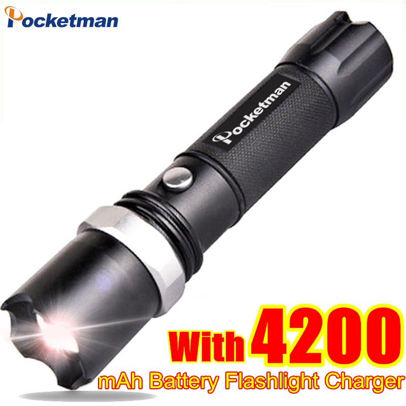 FT17 LED Flashlight XM-L T6 3800LM Aluminum Waterproof Zoomable flashlight Torch 5modes for 18650 Rechargeable Battery or AAA 3800 lumens cree xm l t6 5 modes led tactical flashlight torch waterproof lamp torch hunting flash light lantern for camping z93