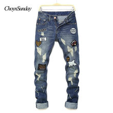 2018 ChoynSunday new man jeans pants knees holes Patches letter printing jeans men's high quality hip hop classic fashion Plus(China)