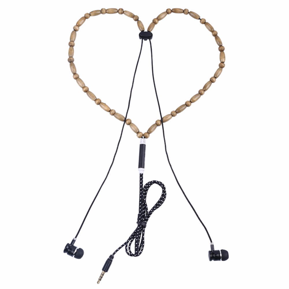 TYAYA New Earphones Beads Necklace Chain In-Ear Wooden Fashion Diamond Earphone with Microphone Stereo for Phone