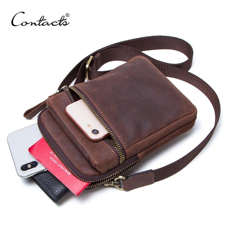 CONTACT'S 100% sac en cuir véritable pour hommes sac à bandoulière pour téléphone portable pochette de voyage petit sac à bandoulière porte-cartes bolsas