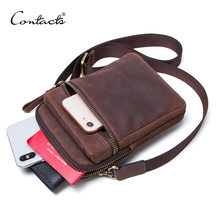 CONTACT'S 100% genuine leather men waist pack for cell phone shoulder bag travel pouch small crossbody bags card holders bolsas(China)
