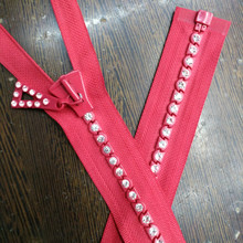 2 Pcs/lot Most Free Shipping Oversize Diamond Zipper Large Decorative Zippers Black/red Single Open End 90cm Sewing Accessories
