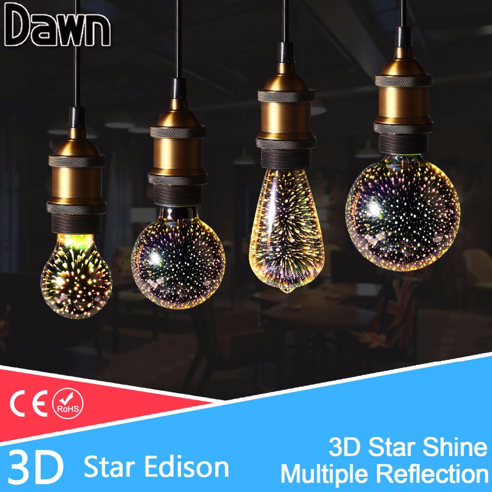 NEW Silver Plated Glass Colourful 3D LED Edison Bulb 220v A60 ST64 G80 G95 Holiday Party Christmas Decoration Bar Light led Lamp led light bulb edison 3d decoration silver holiday christmas decoration night bar glass led lamp 3w 5w candle lamparas bombillas