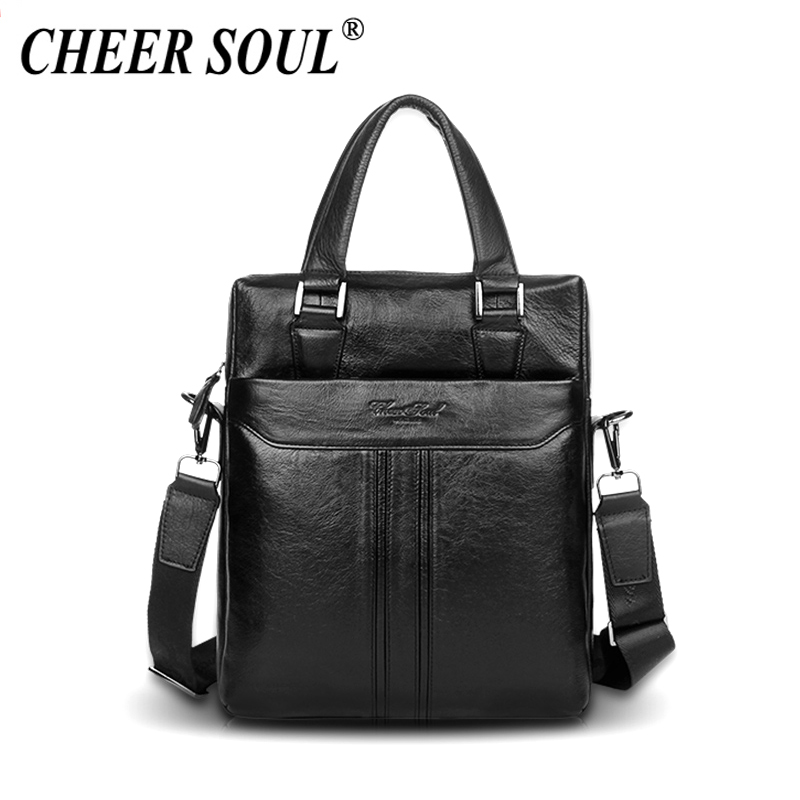 CHEER SOUL Genuine Leather Briefcase Business Handbag Men Office Laptop Bag Messenger Bags For Men Tote Purse Male Shoulder Bags