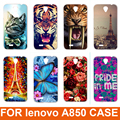 2015 Hot New 14 padrões Eiffiel Toalha colorida rosa animais projeto Pintura Plástico Rígido Telefone Case Capa Para Lenovo A850