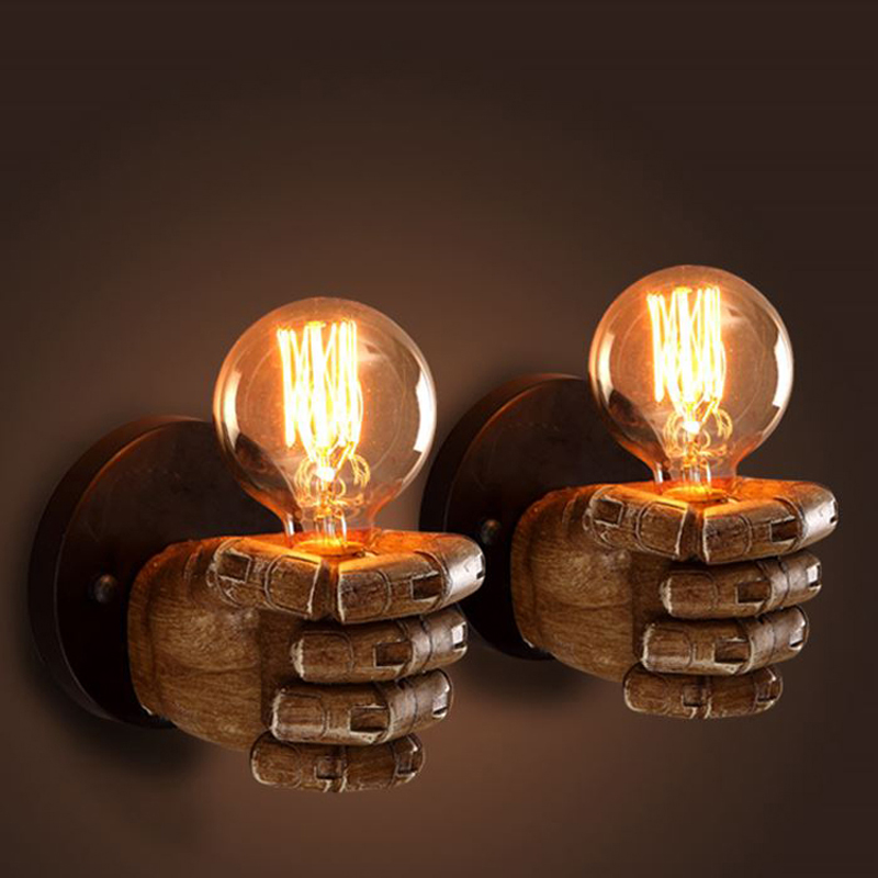 Edison Wall Sconce Retro Fist Wall Lamp Fixtures Creative Personality Loft Industrial Vintage Wall Light Lampe iwhd loft style creative retro wheels droplight edison industrial vintage pendant light fixtures iron led hanging lamp lighting