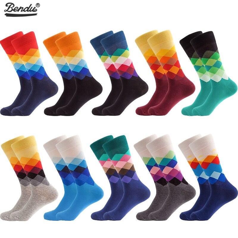 BENDU 10 Pairs/Lot Mens Socks Fashion Happy Funny Colorful Long Socks Combed Cotton Wedding Socks Casual Business Dress Sock