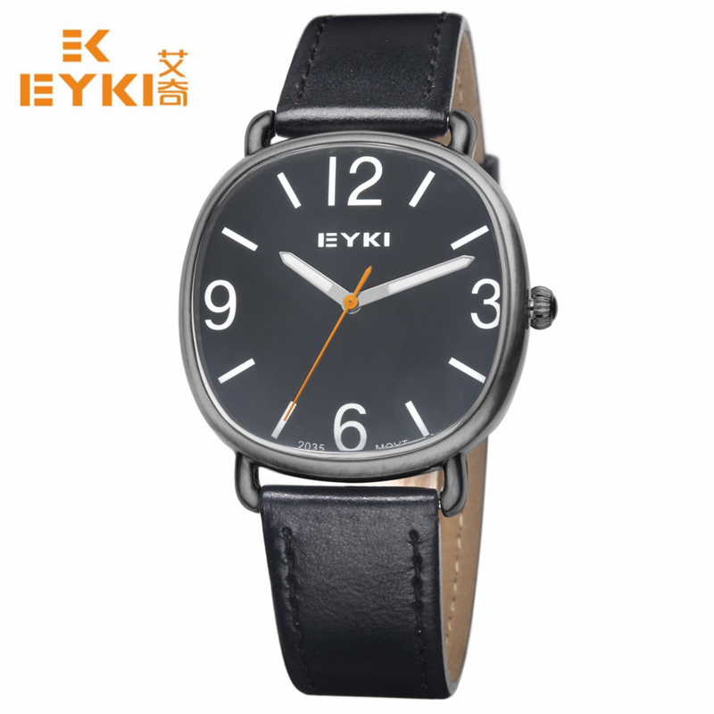 2018 Rushed Eyki Big Dial Leather Belt Watches Men Casual Quartz Watch Sport Wristwatch Relogio Masculino Relojes Black Strap