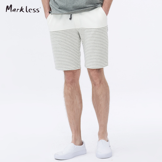 Markless Summer Casual Shorts Men New Striped Spliced Shorts Male Loose Shorts Elastic Man Washed Men's Short Free Shipping 6905