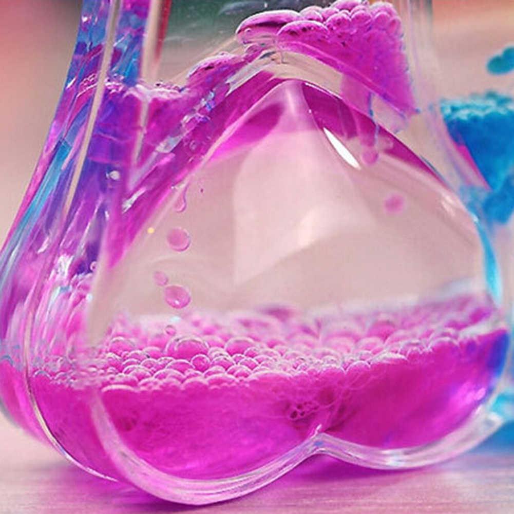 Doppio Cuore Doppio Colore di Galleggiamento Olio Liquido Acrilico Clessidra Liquido Movimento Visivo Clessidra Timer Decorazione Della Casa