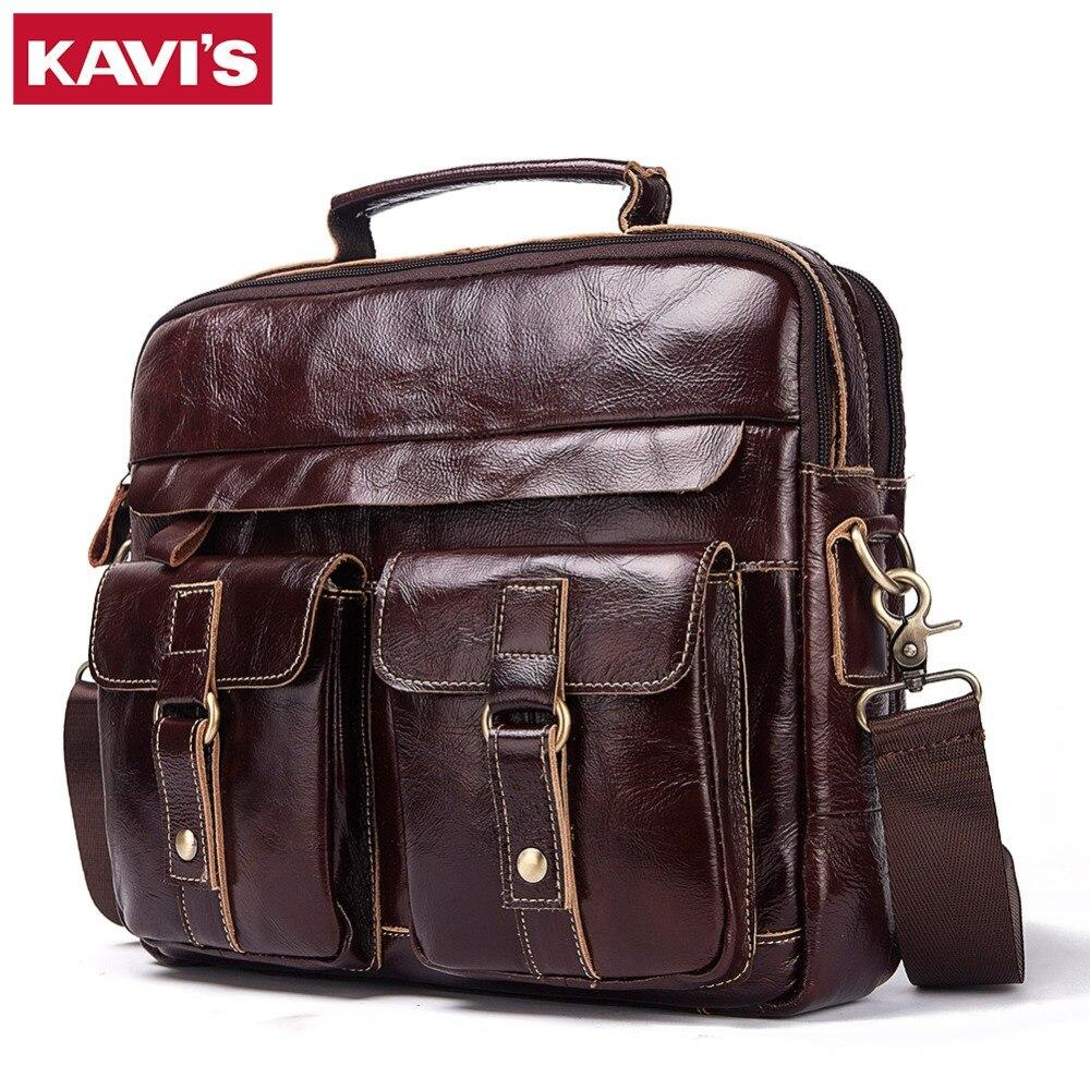 KAVIS 100% Genuine Cowhide Leather Handbags Vintage Shoulder Bag Men Messenger Bag Travel Crossbody Bag Tote Bag Top Quality