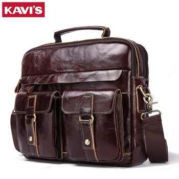 KAVIS 100% Genuine Cowhide Leather Handbags Vintage Shoulder Bag Men Messenger Bag Travel Crossbody Bag Tote Bag Top Quality - DISCOUNT ITEM  43% OFF All Category