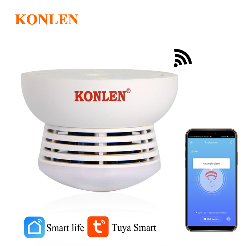 Alarm-Sensor Smoke-Detector Battery-Operated Tuya Fire-Protection Smart-Life WIFI Home-Security title=
