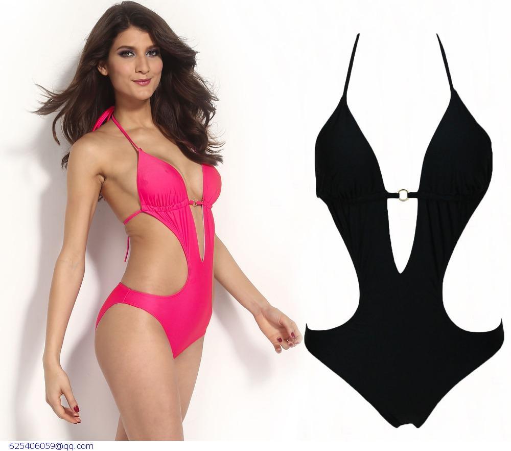 sexy fashion black pink push up cutout women swimwear beachwear one piece swimsuit bathing suit. Black Bedroom Furniture Sets. Home Design Ideas