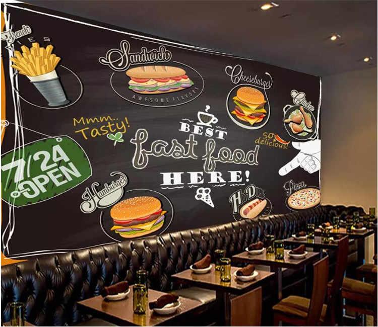 Personalizado foto pintado a mano pizza burger pollo frito papel pintado para gourmets restaurante de comida rápida tienda de té personalidad papel pintado