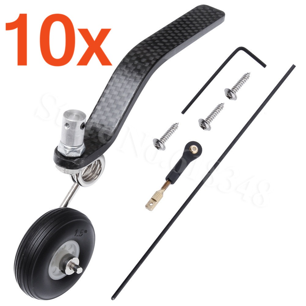 10 Sets 50cc Great Plane Landing Gear Carbon Tail Wheel Assembly 1.5 Rubber Tire Kit RC Airplane Replacement Parts image