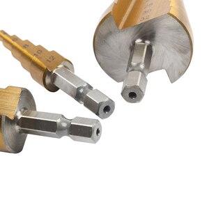 Image 5 - Hss 4241 de 4 20 4 32mm para o metal de madeira de aço da chapa metálica com caixa de alumínio hss titânio hex cortador de furo de broca de cone de passo 3 12 4 12