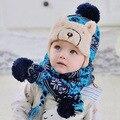 Chapéu + scraf tudo para as crianças roupas e acessórios crianças bombardeiro casuais chapéu morno chapéu feito malha do bebê do projeto da fábrica feito barato cap
