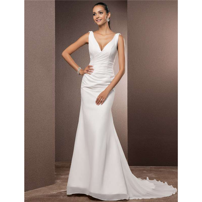 Wedding Gown With Neck Detail: LAN TING BRIDE Mermaid Trumpet Wedding Dress V Neck