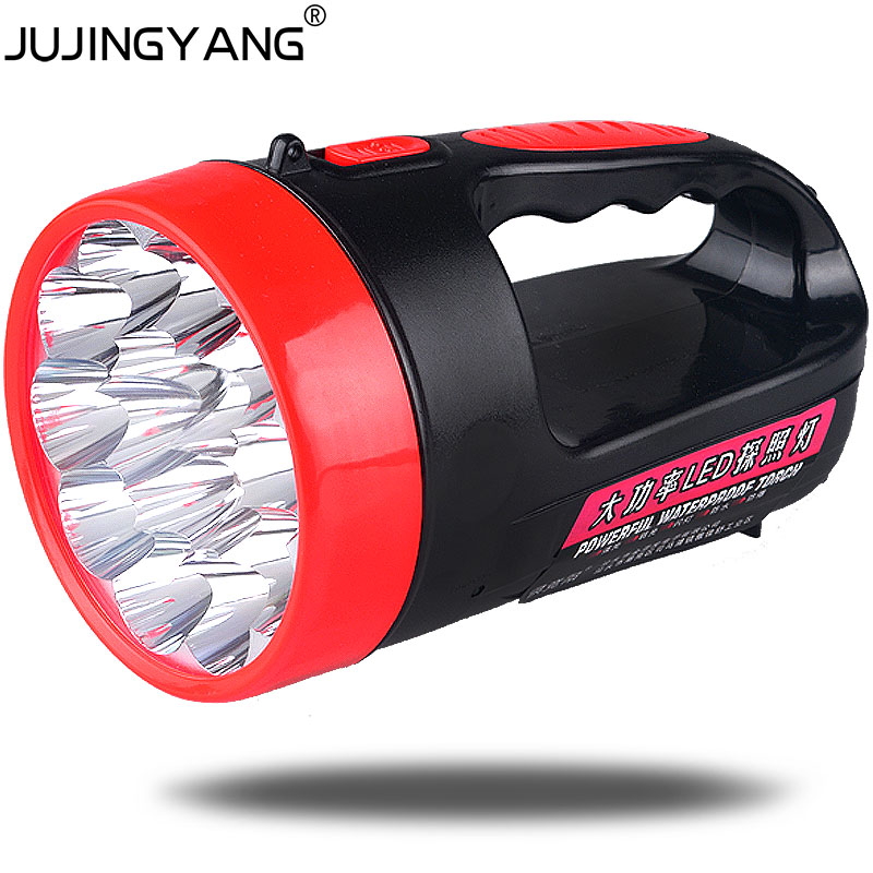 15 LED strong light emergency searchlight outdoor camping lamp security patrol portable rechargeable flashlight 2w led torch ground lamp 50w l2 rechargeable led floodlight spotlight handle emergency flashlight mobile outdoor camping light hiking lamp
