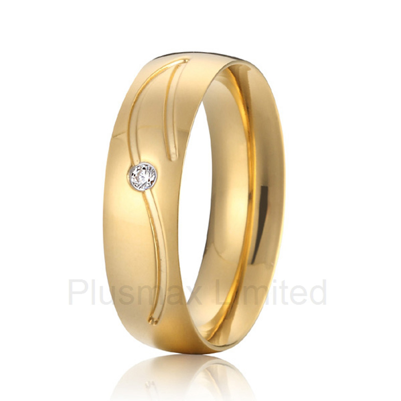2016 China Supplier his and hers gold color pure titanium wedding band finger rings women anel de prata his and hers rings white gold plating pure titanium engagement wedding bands rings 2014