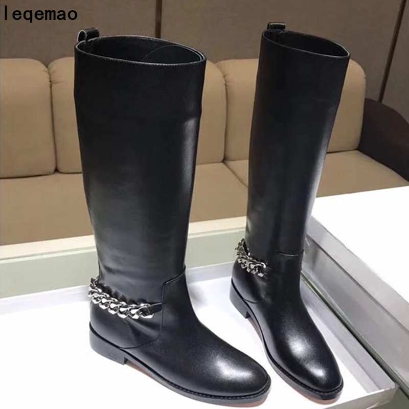 2018 New Fashion Brand Black Real Genuine Leather Knee High Women Round Toe Back Chain Knight Boots Woman Flat Shoes Size35-42 alfani new black women s size small s mesh back high low ribbed blouse $59 259
