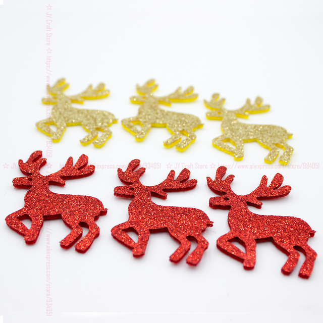 100PCS Glitter Fawn Appliques Sparkle Gold Red Color Christmas Reindeer Patch Cutouts for Xmas Ornament Cake Topper Decor