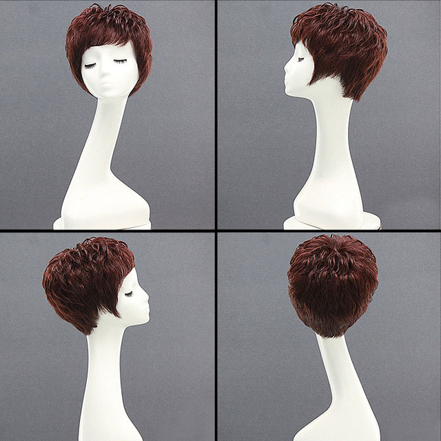 Black Brown Straight Short Human Hair Wigs With Bangs 100% Remy Hair Extension Afro Human Hair Wig For Black/White Women