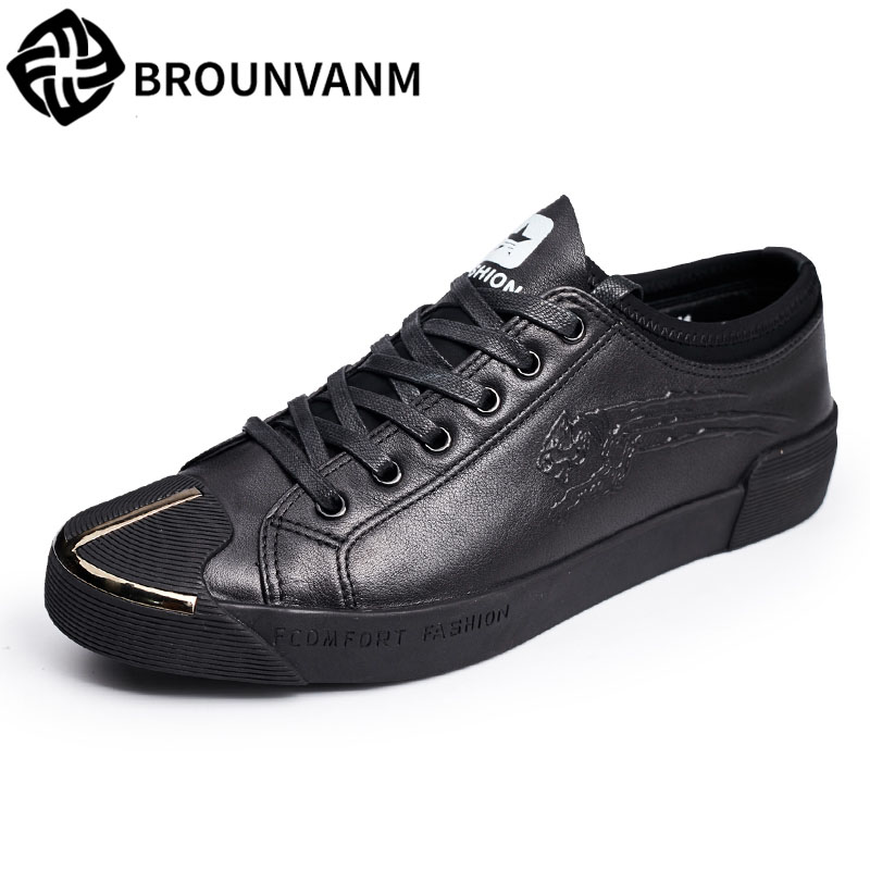 2017 new autumn winter men leather shoes casual all-match British tide fashion shoes breathable sneaker shoes the spring and summer men casual shoes men leather lace shoes soled breathable sneaker lightweight british black shoes men
